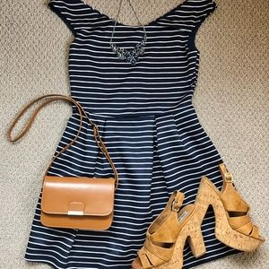 LIKE NEW Navy and White Striped Boatneck Dress